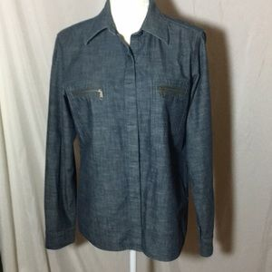 Liz Claiborne Button Down Denim Shirt